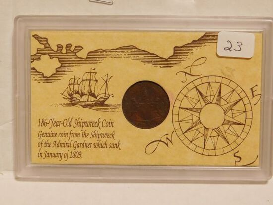 1808 EAST INDIA SHIPWRECK COIN FROM ADMIRAL GARDNER SUNK IN 1809