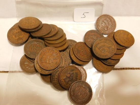 45 INDIAN HEAD CENTS F-XF