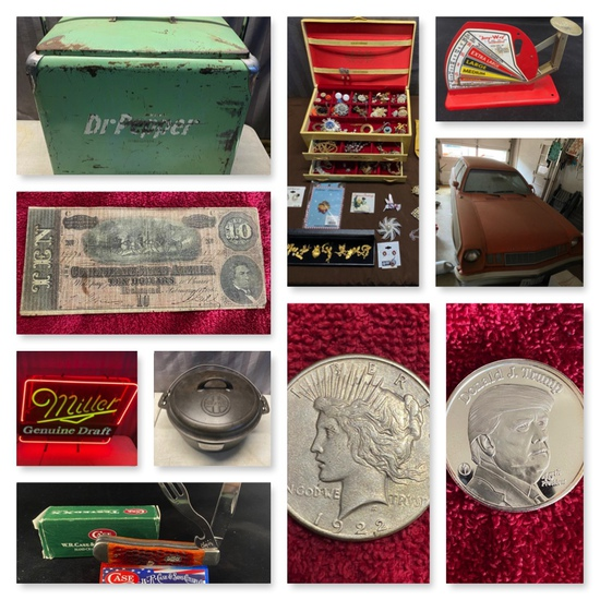 Coins, Silver, Primitives, Ford Pinto and more