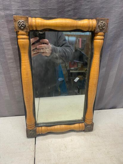 Vintage Wall Hung Mirror, with brass corner, approx 12 x 18