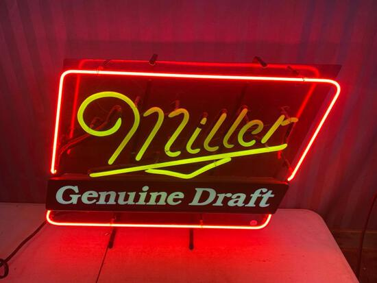 Miller Genuine Draft Neon Sign, tested working, NO SHIPPING