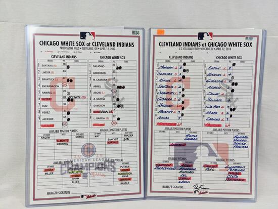 Cleveland Indians 2 official Dugout Line-up cards