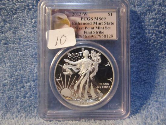 2013W SILVER EAGLE PCGS MS69 ENHANCED FINISH