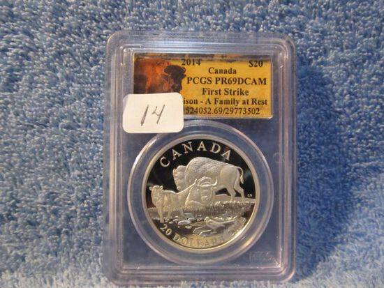 "2014 CANADIAN ""BISON-A FAMILY AT REST"" $20. SILVER PCGS PR69 DCAM FIRST STR"