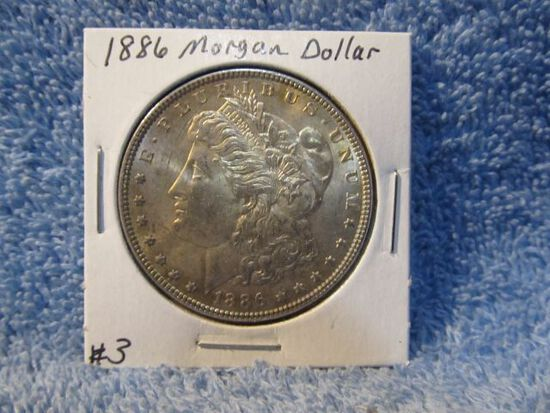 1886 MORGAN DOLLAR (NICE TONING) BU