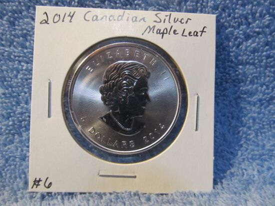 2014 CANADIAN SILVER MAPLE LEAF BU