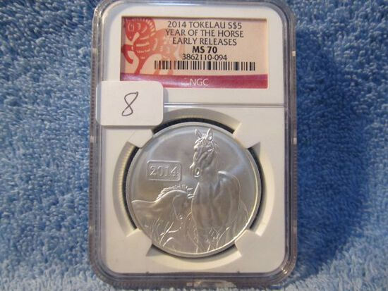 2014 YEAR OF THE HORSE 1-OZ. .999 SILVER NGC MS70 EARLY RELEASES