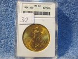 1924 $20. ST. GAUDENS GOLD PIECE ANACS MS63