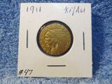 1911 $5. INDIAN HEAD GOLD PIECE XF+