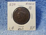 1839 LARGE CENT HEAD OF 38 XF VERY NICE PLANCHET