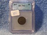 1877 INDIAN HEAD CENT KEY DATE IN ICG F12 HOLDER