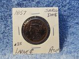 1857 SMALL DATE LARGE CENT AU+
