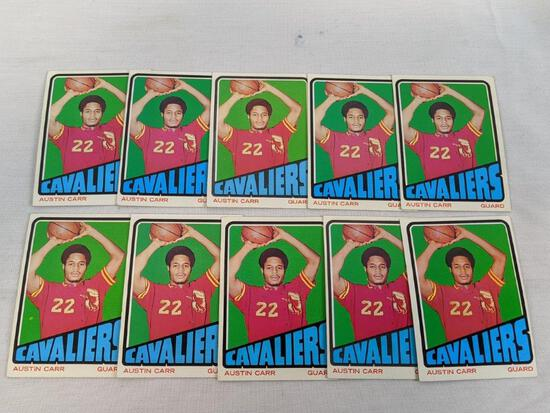 Austin Carr rookies 1972-1973 Topps cards, lot of 10