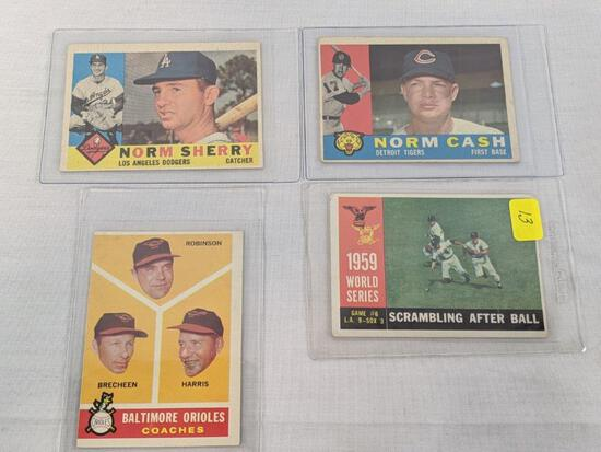 1960 Topps card lot of 4, card #s 390, 455, 488, 529