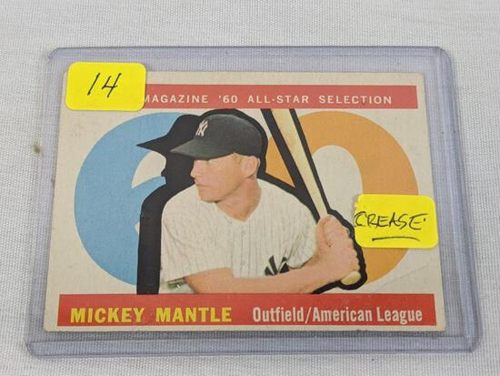 1960 Topps Mickey Mantle, card # 563, crease on bottom right