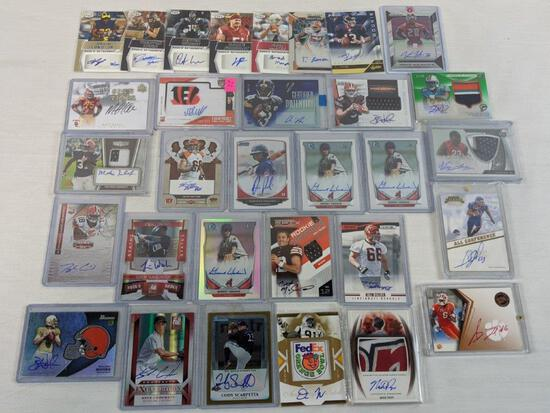40 signed cards, all factory authentic, various sports