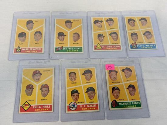 1960 Topps baseball lot of 7, cards 464 through 470
