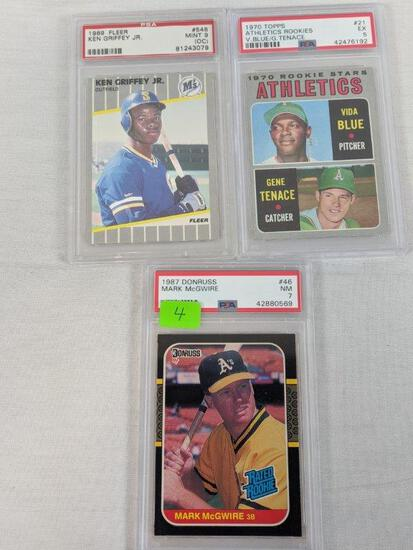 PSA rookie card lot, Griffey, Vida Blue, McGuire