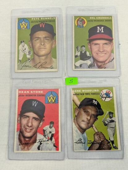 1954 Topps baseball lot of 4 cards, card #s 6, 12, 114, 101