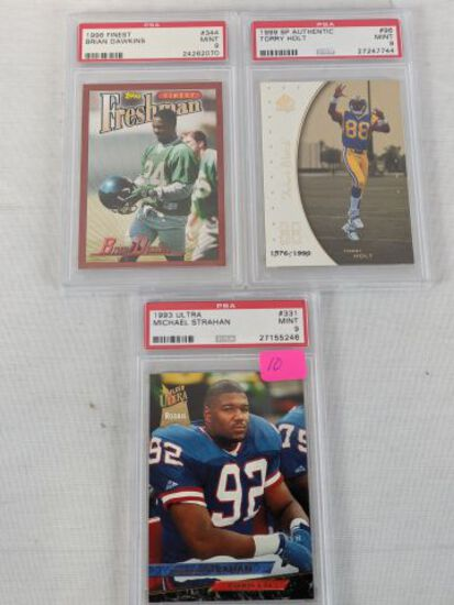 PSA grade 9 football Rookie lot: Holt, Dawkins, Strahan