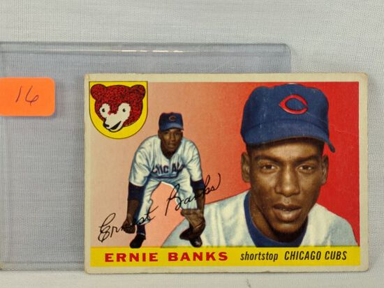 Ernie Banks 1955 Topps, slight crease, small mark on back of card (May15)