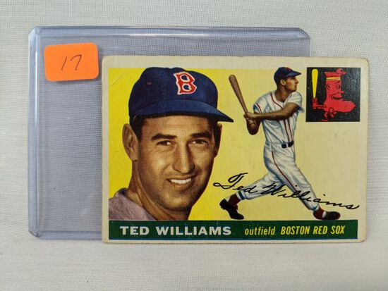Ted Williams 1955 Topps, 3 slight creases & soft corners, mark on the back (May 18 - TD)