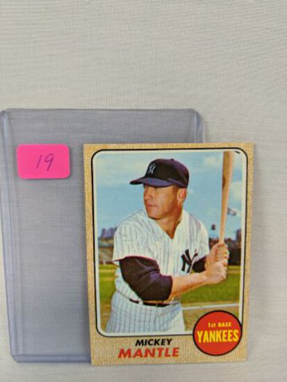 Mickey Mantle 1968 Topps, 2 slight creases - wax on front