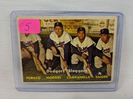 1957 Topps baseball card #400:  Snider, Furillo, Hodges, Campanella
