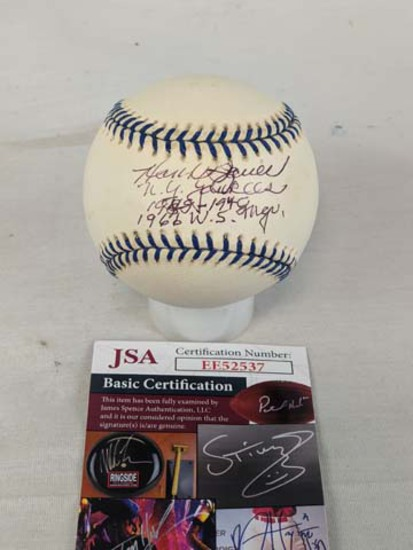 Hank Bauer Yankees signed MLB ball stats, signed JSA