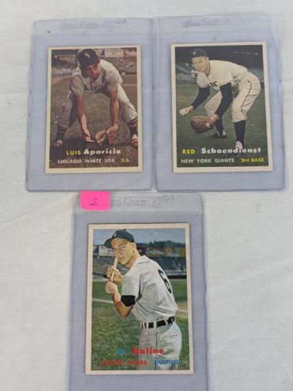 1957 Topps baseball lot: Al Kaline, Luis Aparicio, Al Schoendienst