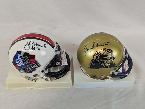 John Hannah, Joe Schmidt signed mini-helmets, JSA