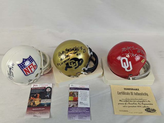 Billy Sims, Jan Stenerud & Cliff Branch signed mini-helmets, certed