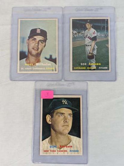 1957 Topps baseball lot: Don Larsen, Bob Lemon, Hoyt Wilhelm