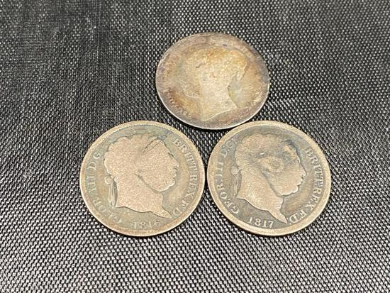 1816, 1817, and unknown date 1 Schilling Coins, Great Britain, all sterling