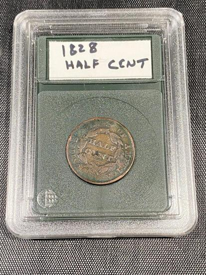 1828 US Half Cent in snap case