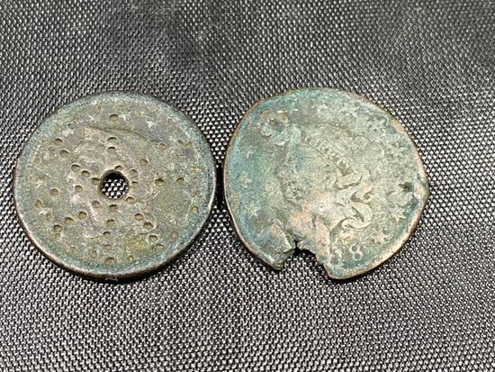 2 CULL Large US Cents