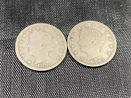 1883 Type 1 and Type 2 Liberty Nickels, one each WITH and WiTHOUT Cents