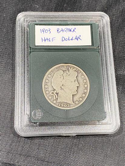 1903 Barber Half Dollar in snap case