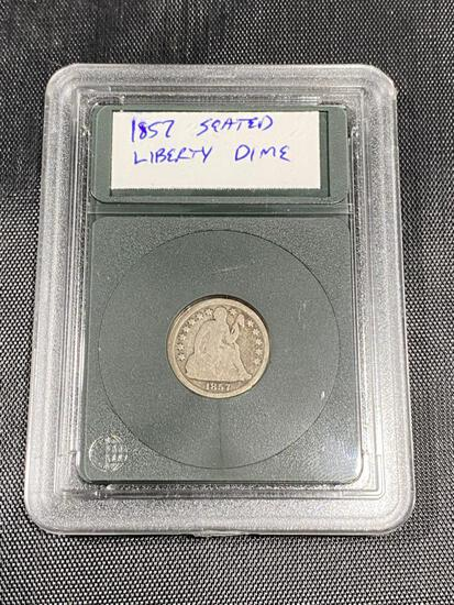 1857 Seated Liberty Dime, in snap case