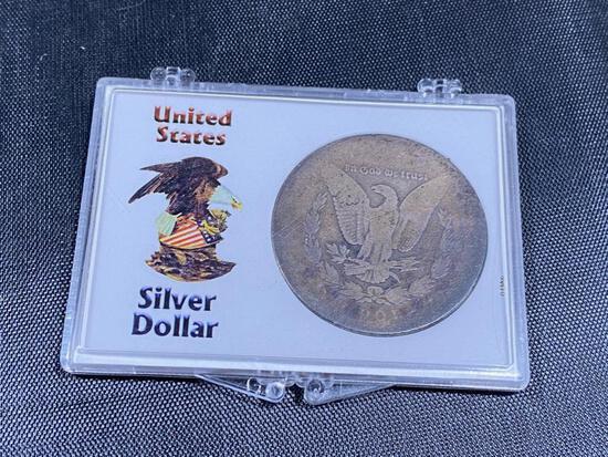 1887? Morgan Silver Dollar, very worn, in snap case