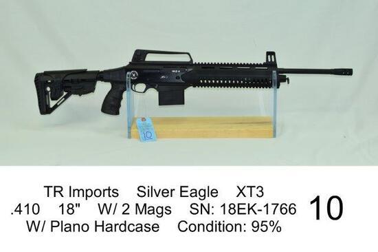 "TR Imports    Silver Eagle    XT3    .410    18""    W/ 2 Mags    SN: 18EK-1766    W/ Plano Hardcase"