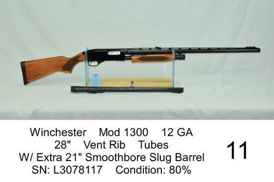 "Winchester    Mod 1300    12 GA    28""    Vent Rib    Tubes    W/ Extra 21"" Smoothbore Slug Barrel"
