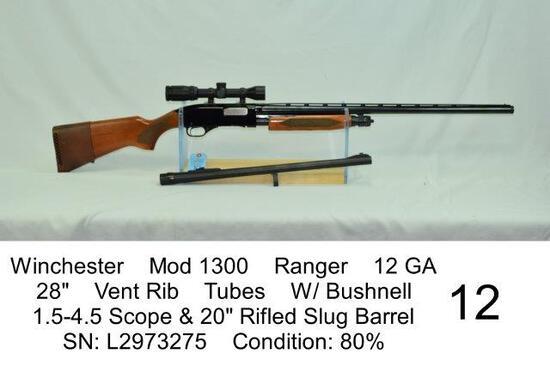 "Winchester    Mod 1300    Ranger    12 GA    28""    Vent Rib    Tubes    W/ Bushnell    1.5-4.5 Scop"