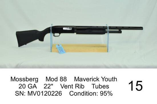 "Mossberg    Mod 88    Maverick Youth    20 GA    22""    Vent Rib    Tubes    SN: MV0120226    Condit"