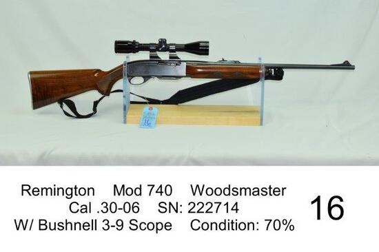 Remington    Mod 740    Woodsmaster    Cal .30-06    SN: 222714    W/ Bushnell 3-9 Scope    Conditio