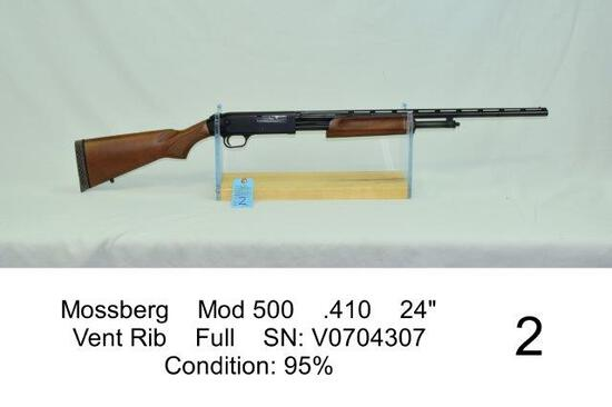 "Mossberg    Mod 500    .410    24""    Vent Rib    Full    SN: V0704307    Condition: 95%"