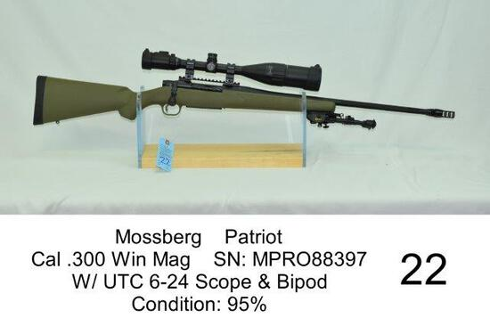 Mossberg    Patriot    Cal .300 Win Mag    SN: MPRO88397    W/ UTC 6-24 Scope & Bipod    Condition: