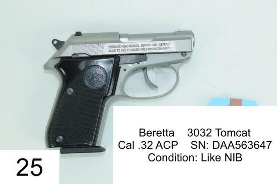 Beretta    3032 Tomcat    Cal .32 ACP    SN: DAA563647    Condition: Like NIB