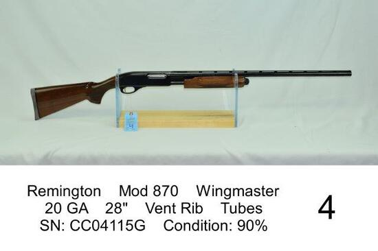 "Remington    Mod 870    Wingmaster    20 GA    28""    Vent Rib    Tubes    SN: CC04115G    Condition"