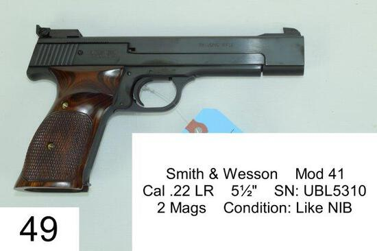 "Smith & Wesson    Mod 41     Cal .22 LR    5½""    SN: UBL5310    2 Mags    Condition: Like NIB"